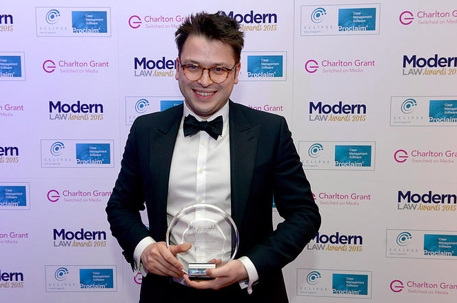 "Jonathan Hodge wins ""Rising Star of the Year"" at Modern Law Awards 2015"